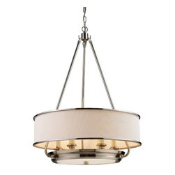 "ELK Lighting - Lureau Chandelier by ELK Lighting - A clean, modern style that combines a simple fabric drum with metal accents. Finished in a stunning Polished Nickel, the metal on the ELK Lighting Lureau Chandelier suddenly becomes the main attraction and gives any space character. A finishing touch to elegant transitional rooms and entryways. Founded in Eastern Pennsylvania in 1983, ELK Lighting designs and delivers ""Lighting for Distinctive Homes."" As such, the exclusive line of ELK Lighting products has extraordinary designer appeal matched by an emphasis on value and craftsmanship."
