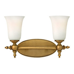 Hinkley Lighting - Hinkley Lighting 5742BR Yorktown 2 Light Bathroom Vanity Lights in Brushed Bronz - The elegant Yorktown collection offers updated traditional styling with cast detailing for an authentic touch. The cast back plate, finials, bar ends and ball transitions combine to make this 2 light bath fixture in a Brushed Bronze finish perfect for any