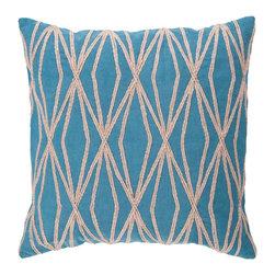 "Surya COM022-2222P 100% Cotton 22"" x 22"" Decorative Pillow - Filler: Poly Fiber. Shape: Square"