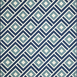 Momeni - Momeni Baja Baj7 Blue Rug - Baja0Baj - Bold and exciting colors patterns allow trend-conscious customers to create their ultimate indoor/outdoor oasis.  Baja thrives on simple graphic patterns with a refreshing twist of runway fashion and lively color palettes.  Machine-made in Egypt of 100% polypropylene and approved for use outdoors.