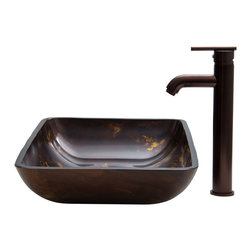 Vigo - Brown and Gold Fusion Glass Vessel Sink and Faucet Set - The VIGO Rectangular Brown and Gold Fusion glass vessel sink and faucet set will add a bold touch of modern luxury to your bathroom.