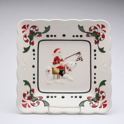 Cosmos - 10 Inch Santa Claus Riding Polar Bear Festive Christmas Square Plate - This gorgeous 10 Inch Santa Claus Riding Polar Bear Festive Christmas Square Plate has the finest details and highest quality you will find anywhere! 10 Inch Santa Claus Riding Polar Bear Festive Christmas Square Plate is truly remarkable.