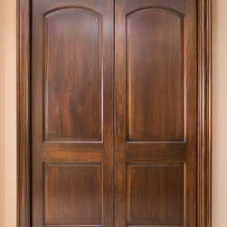 "Solid Poplar Continental Double Doors - Solid poplar continental double door with with double acting Bommer hinges and B110 ( 1 1/16"" x 4"" ) poplar casing."
