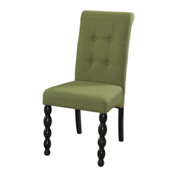 Powell - Powell Corbett Green Parson Chair (Pack of 2) X-995-952 - Parsons Chair has rolled back with Black finish front cannonball turned legs. Seat and back are upholstered in Green 100% polyester, with tufted buttons. Use as a 2 piece complement to the wood side chairs or furnish dining table with all parsons chairs. Leg assembly required.