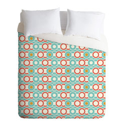DENY Designs - Heather Dutton Ring A Ding Twin Duvet Cover - Are those records, CDs or simply a chain of circles? Whatever musical era defines you, this machine-washable duvet in retro colors is sure to be a hip hit for the bedroom.