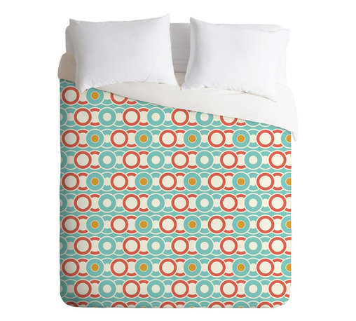 Heather Dutton Ring A Ding Twin Duvet Cover - Are those records, CDs or simply a chain of circles? Whatever musical era defines you, this machine-washable duvet in retro colors is sure to be a hip hit for the bedroom.