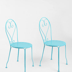 Cafe Chairs, Blue - These chairs are the most darling shade of blue, and the heart pattern on the backs is so sweet! They're the perfect set to put out on a front patio or porch.
