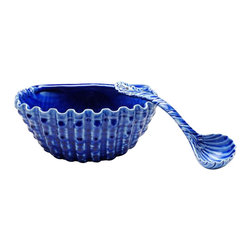 ATD - Deep Blue Bouillabaisse Shell Themed Serving Bowl and Spoon Set - This gorgeous deep blue bouillabaisse shell themed serving bowl and spoon set has the finest details and highest quality you will find anywhere! Deep blue bouillabaisse shell themed serving bowl and spoon set is truly remarkable.