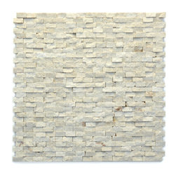 "Glass Tile Oasis - Fauve Unique Shapes Cream/Beige Modern Series Tumbled Natural Stone - Sheet size:  12"" x 12""        Tile Size:  1/2""        Tile thickness:  3/8""        Sheet Mount:  Mesh Backed        Stone tiles have natural variations therefore color may vary between sheets.    Sold by the sheet    -  During manufacturing  the tiles are hand sorted into matching colors and sizes and individually glued onto mesh backing. It is not unusual to find occasional imperfections  veins and lines of separation within the stones."