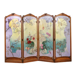 French Antique Art Nouveau Four-Panel Painted Screen - The HighBoy, Alhambra Antiques