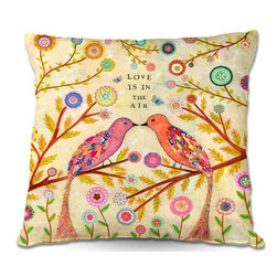 DiaNoche Designs - Pillow Woven Poplin by Sascalias Love Birds - Toss this decorative pillow on any bed, sofa or chair, and add personality to your chic and stylish decor. Lay your head against your new art and relax! Made of woven Poly-Poplin.  Includes a cushy supportive pillow insert, zipped inside. Dye Sublimation printing adheres the ink to the material for long life and durability. Double Sided Print, Machine Washable, Product may vary slightly from image.