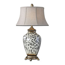 Uttermost - Malawi Cheetah Print Table Lamp - Burnished Cheetah Print Over A Ceramic Base With Heavily Antiqued Silver Details. The Oval Bell Shade Is An Oatmeal Linen Fabric With Natural Slubbing.