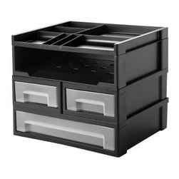IRIS USA, Inc. - Modular Desktop, 5-piece Set, Black - Organize an entire desktop with a full 5-piece set. Great for storing all your everyday office accessories. Includes organizer top, paper storage and 3 drawers which is perfect for office and home use. Organize and arrange in mulitple ways.