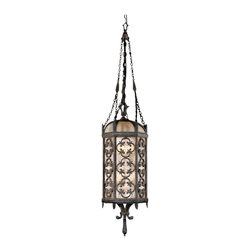 Fine Art Lamps - Costa del Sol Medium Outdoor Lantern, 325282ST - Bring a touch of Spain to your outdoor space with this large lantern. A curvy quatrefoil motif, wrought iron finish and subtly iridescent textured glass combine for stately style.