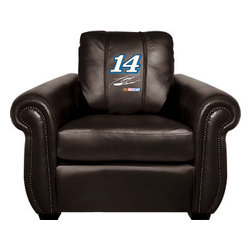 Dreamseat Inc. - Tony Stewart #14 NASCAR Chesapeake Black Leather Arm Chair - Check out this Awesome Arm Chair. It's the ultimate in traditional styled home leather furniture, and it's one of the coolest things we've ever seen. This is unbelievably comfortable - once you're in it, you won't want to get up. Features a zip-in-zip-out logo panel embroidered with 70,000 stitches. Converts from a solid color to custom-logo furniture in seconds - perfect for a shared or multi-purpose room. Root for several teams? Simply swap the panels out when the seasons change. This is a true statement piece that is perfect for your Man Cave, Game Room, basement or garage.