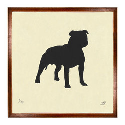 Kathy Kuo Home - Silhouette Bulldog Art Print - Standing at attention, this playful bulldog is ready for anything. Add this fun print of a bulldog silhouette to your wall of framed pictures for a charming counterpoint to photographic or painted works. With its midcentury frame and off-white paper, it has vintage charm that's still thoroughly modern.