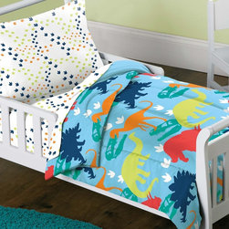 None - Dinosaur Prints 4-piece Toddler Bedding Set - This dinosaur toddler bedding set creates a prehistoric feel for a child's bedroom that any toddler will love. The four piece set comes with a colorful comforter and sheet set to fit a toddler size bed.