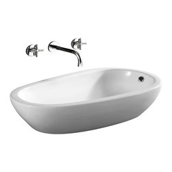 Caracalla - Round White Ceramic Vessel Bathroom Sink, No Hole - Contemporary design, round white ceramic vessel bathroom sink with no hole. Beautiful above counter washbasin comes with overflow. Made in Italy by Caracalla.