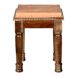 Sierra Living Concepts - Parisian Hand Carved Leather & Indian Rosewood Boudoir Stool - It's easy to be beautiful when you're sitting on an elegant Parisian Boudoir Stool. This solid wood square seat is built with Indian Rosewood, a premium hardwood sought out by furniture artisans for its strength, durability, and unique wood grain.