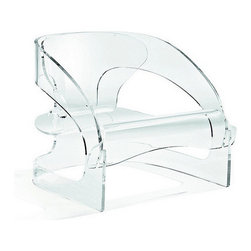 Kartell - Joe Colombo Arm Chair, Crystal - Kartell pays homage for the first time to one of the most iconic pieces in its museum with its reedition of the 4801 armchair designed by Joe Colombo, an authentic symbol of design in the '60s, and now much sought-after in auctions of modern historical pieces. Well-known also for being the only piece produced by Kartell made entirely of wood, that same product can be made using today's industrial technology to reproduce the curving sinuous lines of the piece. Seat height: 11.8. Weighs 43.21 lbs. Some assembly required.