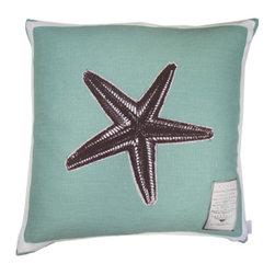 Starfish Linen Pillow, Aqua - I love this fresh Starfish pillow.