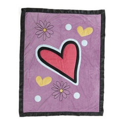 Sassy Shaylee Medium Quilt with Applique - The Sassy Shaylee Medium Quilt with Applique may have a funky, modern look, but it still has the same cuddly appeal as a traditional quilt. The cute purple background is accented with a bright pink heart applique as well as smaller hearts and flowers. Certain to become a favorite, your little girl will love curling up under this blankie.