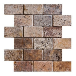 "2"" x 4""Scabos Tumbled Mesh-Mounted Travertine Mosaic Tiles - 2"" x 4"" Scabos Travertine Mesh-Mounted Mosaic Tile is a great way to enhance your decor with a traditional aesthetic touch. This Tumbled Mosaic Tile is constructed from durable, impervious Travertine material, comes in a smooth, unglazed finish and is suitable for installation on floors, walls and countertops in commercial and residential spaces such as bathrooms and kitchens."