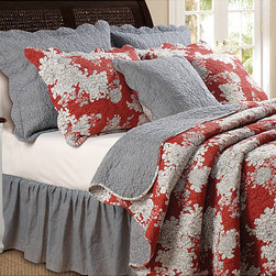 None - Lorraine 5-piece Quilt Sham and Pillow Set - Create a stylish atmosphere for your room using this elaborate cotton quilt bonus set with large flower blossom patterns of black and white streaking across a deep red background. This set also reverses to a quaint black and white gingham check print.