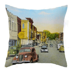 "Pictorial History Decor - Eclectic 18"" x 18"" Pillow Featuring Vintage Michigan City - A vintage view of a quintessential small town in Michigan is the inspiration behind this unique 18"" x 18"" throw pillow.  Lay your head on this vintage inspired pillow and peacefully dream of slower, simpler times. Perfect for your eclectic or rustic style decor."
