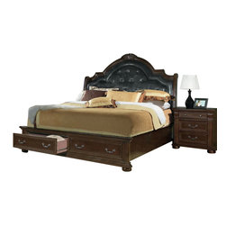 Homelegance - Homelegance Silas 3-Piece Sleigh Bedroom Set with Storage Footboard - Walking into your bedroom, you stop and stare at the Silas collection. Each detail is a statement of your traditional sense of style - the Rich cherry finish , elaborate twist carvings, button-tufted bonded leather mansion headboard, antiqued hardware and fluted pilasters - elegant and charming. Those details blend in perfect harmony creating the ultimate in grand Old World presence. Also available in sleigh platform bed with footboard storages.