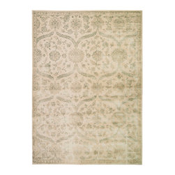"""Nourison - Nourison Luminance LUM04 9'3"""" x 12'9"""" Cream Mint Area Rug 19430 - This subtly styled transitional area rug gives off a subdued sense of elegance and beauty. Tones of lilac, taupe, grey, and beige adorn a network of medallion shapes and feathery leaf scroll, beautifully embracing the floral scroll patterns within, creating a subtle geometry that will delight the senses and instantly become the center piece of any space. The timeless style and comfortable feel of this rug is sure to transform any room into an inspired creation for years and years to come."""