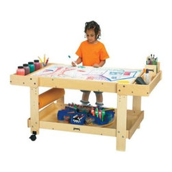 Jonti-Craft Creative Art Caddie with Bins - Foster your child's creativity with the Jonti-Craft Creative Art Caddie with Bins. This large table has an expansive work surface so your child's imagination can run wild as she experiments with colors shapes and composition. The Write-n-Wipe tabletop is height-adjustable and easy to clean so your child can quickly move on to new ideas as they strike. You could also cover the top with paper (not included) so your budding Picasso can create more lasting pieces for display. This handy table features large bins on either side that are the perfect size for paint bottles and brushes markers or other supplies. You can store bulky items on the lower tray; there's even a spot for a 24-inch paper roll (not included). With two smooth rolling casters on one side this cart can move to different stations in your room or out of the way when art time is over. The wood frame of this sturdy table features a KydzTuff finish the same as the coating used on gym floors and just as easy to keep clean. All KydzSafe edges are rounded to take the sting out of accidental bumps. About Jonti-CraftFamily-owned and operated out of Wabasso Minn. Jonti-Craft is a leading provider of quality furniture for the early learning market. They offer a wide selection of creatively designed products in both wood and laminate materials. Their products are packed with features that make them safe functional and affordable. Jonti-Craft products are built using the strongest construction techniques available to ensure that your furniture purchase will last a lifetime.