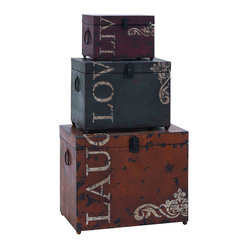 Benzara - Classic Live Love Laugh Iron Storage Trunk Set - The most thoughtful gift is that of love and laughter. This set of storage trunks combine that message with a charming style of decoration. Each of the three feature stylish reminders to  in. live, love and laugh. in.  Made with aged iron alloy throughout, each trunk is suited to be as useful as it is thoughtful.