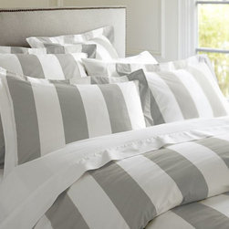 Classic Stripe 400 Thread Count Duvet Cover and Sham, Gray Mist - There is nothing finer than big fat stripes on a bed. This is a great look for a guest room, especially in a country house, or in a teenager's room. It is bold but chic, and I like that.