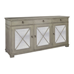 Deauville Sideboard in Modern French Gray - Line your dining room wall with cupboards and drawers, expand your kitchen storage, or even make an unconventional choice for containing linens in a roomy bath - all behind the attractive facade of a sideboard which might have come from a well-heeled French country home two centuries ago. Framed with molding and faced with x-shaped details, it features drop handles. Adjustable shelves within increase the utility of this versatile cabinetry piece.