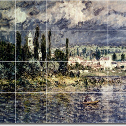 Picture-Tiles, LLC - Landscape With Thunderstorm Tile Mural By Claude Monet - * MURAL SIZE: 48x60 inch tile mural using (20) 12x12 ceramic tiles-satin finish.