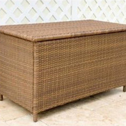 Hospitality Rattan - Hospitality Rattan Grenada Patio Storage Unit - Viro Antique Brown - 604-9349-VI - Shop for Sheds and Storage from Hayneedle.com! Why shouldn't your patio be as presentable as your living room? Keep towels cushions and other outdoor accessories pristine in the Hospitality Rattan Grenada Patio Storage Unit - Viro Antique Brown. The Grenada Collection has a modern tropical feel that offers a clean look for any patio area - not to mention the convenience of all-weather wicker. Supported by an aluminum frame wrapped in high quality antique brown Viro fiber this all-weather trunk-style storage unit boasts a smoothly hinged top that opens to reveal a spacious storage area for towels and linens cushions poolside items and more.About Hospitality Rattan Hospitality Rattan has been a leading manufacturer and distributor of contract quality rattan wicker and bamboo furnishings since 2000. The company's product lines have become dominant in the Casual Rattan Wicker and Outdoor Markets because of their quality construction variety and attractive design. Designed for buyers who appreciate upscale furniture with a tropical feel Hospitality Rattan offers a range of indoor and outdoor collections featuring all-aluminum frames woven with Viro or Rehau synthetic wicker fiber that will not fade or crack when subjected to the elements. Hospitality Rattan furniture is manufactured to hospitality specifications and quality standards which exceed the standards for residential use. Hospitality Rattan's Environmental Commitment Hospitality Rattan is continually looking for ways to limit their impact on the environment and is always trying to use the most environmentally friendly manufacturing techniques and materials possible. The company manufactures the highest quality furniture following sound and responsible environmental policies with minimal impact on natural resources. Hospitality Rattan is also committed to achieving environmental best practices throughout its ac