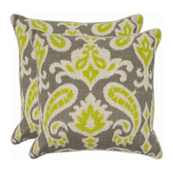 Safavieh - Safavieh Dylan Pillow (2) X-2TES-8181-B438LIP - Reminiscent of the calico designs imported from India famously printed in by French artisans in Provence, the summer lime paisley motif of this accent pillow enlivens a soft and organic fabric of cotton and linen blend.