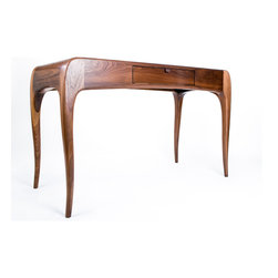 Hayworth Desk by Caleb Woodard - Handcarved desk with paneled top and pencil drawer.