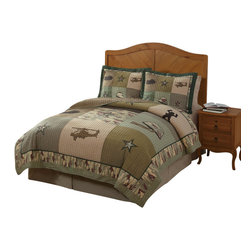 Pem America - Alpha Bravo Charlie Full/Queen Quilt with 2 Shams - Alpha Bravo Charlie is a patchwork of olive and tan prints with embroidery and is a popular boys quilt.  This pieced, 100% cotton face quilt is the perfect quilt for a boys bedroom and it is built to last.  The deep greens and tans featured in the camouflage look are easy to coordinate with your other bedroom furniture.  This quilt has applique images of helicopters, helmets, and tanks! Hand crafted set includes: 1 full/queen quilt (86x86 inches) and 2 standard shams (20x26 inches). Face cloth is hand pieced 100% cotton. Filled with 100% Hypoallergenic Polyester Machine Washable.