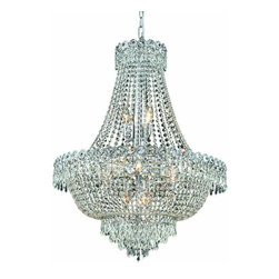 "PWG Lighting / Lighting By Pecaso - Agathe 12-Light 24"" Crystal Chandelier 1615D24C-EC - This classical Agathe Crystal Chandelier with flowing symmetrical shape and nearly invisible frame offers a striking surge of brilliant light. Sconces and ceiling mounts enhance your room decor."