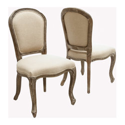 Great Deal Furniture - Queen Ann Weathered Oak Armless Dining Chair (Set of 2) - Give your home a touch of European class with our Queen Ann Weathered Oak Armless Dining Chairs. The frame is sturdy, made of a solid oak that will last for years, weathered to give it that Victorian vintage look. These chairs boast a unique weathered frame and linen upholstered plush seat and backrest that is both comfortable and graceful. Whether at the dining table or in the living room, these chairs will be a fabulous addition to your home. You will want to keep a pair of these chairs in each and every room.