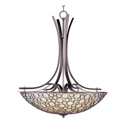 Maxim Lighting - Maxim Lighting 21344DWUB Art Deco Retro 4 Light Bowl PendantMeridian Collection - Multiple-sized rings artfully welded to one another form modern sculptures in the Meridian collection.