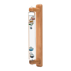 Galileo Wall-Mount Oak 18 inch - Let the jewel-like sparkle of this sculptural Galileo Thermometer adorn your home while displaying the laws of thermodynamics. Galileo Galilei (1564 - 1642) invented the thermoscope, the world's first instrument indicating changes of temperature.