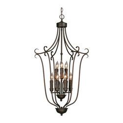 Golden Lighting - Golden Lighting 6427-9-RBZ Signature 9 Light Foyer Pendant, Rubbed Bronze - Multi-Family Caged Foyer in the Rubbed Bronze finish