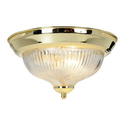 Premier Faucet - Surface Mount Halophane 11.8 x 4.8 inch Swirl Fixture - Polished Brass - AF Lighting 671350 10-7/8in. D by 6in. H Halophane Swirl Ceiling Fixture, Polished Brass Finish.