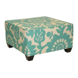 Gerber Square Ottoman, Surf - Oh this upholstered ottoman is the yummiest thing I've seen in awhile. It's perfect for a chic coastal home, cottage, or even the most sophisticated of living rooms.
