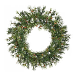 "Vickerman - Mixed Country Pine Wreath 165T (36"") - 36"" Mixed Country Pine Wreath With 165 Tips, 45 Cones, Grapevines"