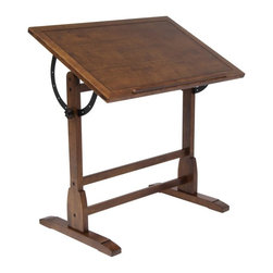 Studio Designs - Drafting Table - Adjustable Angle Table Top from Flat to 90 Degrees. Antique Design and Finish. Built-in Pencil Groove with 24 in. Pencil Ledge. Solid Hard Wood Frame for Stability. 36 in. W X 24 in. D X 34 in. - 45 in. H. Main Work Surface: 36 in. W x 24 in. D