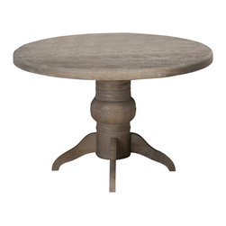 Jofran - Jofran Burnt Grey 48 Inch Round Dining Table w/ Fixed Top - Attractive looks and a versatile build make this table an imperative inclusion. With an adaptable design and pleasing aesthetics, this table is an all-inclusive solution to providing both style and utility. Show off your sensible personality with the addition of this table. What's included: Dining Table Top (1), Dining Table Base (1).